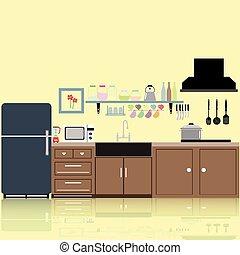 interior kitchen two dimensional color tones image...
