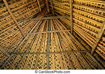 The interior look of a Fijian bure roof