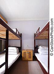 a classic 4 bed dorm room interior