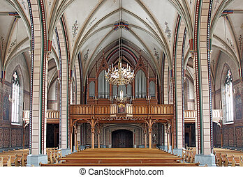 The interior of a catholic church in europe