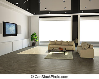 The interior of a large room with white sofa and TV