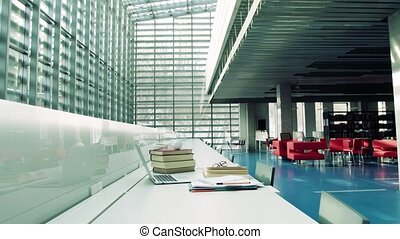 The interior of a modern library. - The interior of a large...