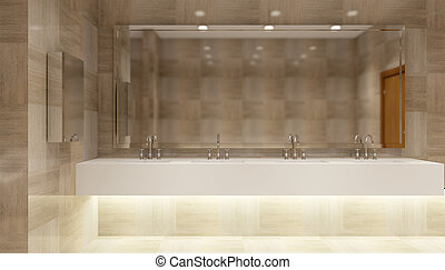 The interior of a public toilet, 3D rendering
