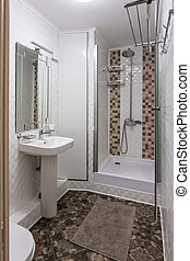 The interior of a small bathroom with toilet