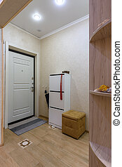 The interior of an ordinary hallway in a small apartment