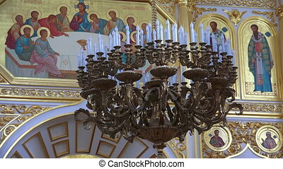 The interior of an orthodox church.