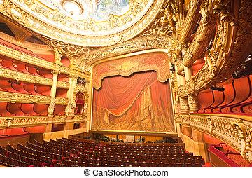 the interior of grand Opera in Paris - the beautiful ...