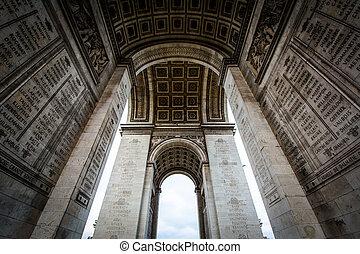 The interior of the Arc de Triomphe, in Paris, France.