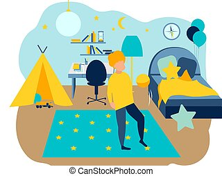 The interior of the boys room. In minimalist style Cartoon flat Vector