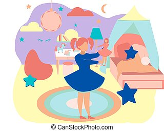 The interior of the girl room. In minimalist style Cartoon flat Vector