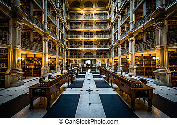 The interior of the Peabody Library, in Mount Vernon, Baltimore, Maryland.
