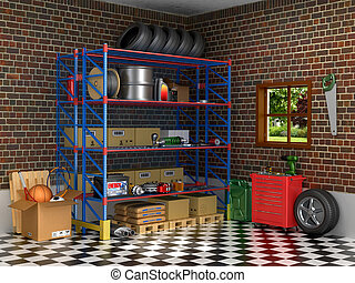 The interior suburban garage with car parts. 3D illustration