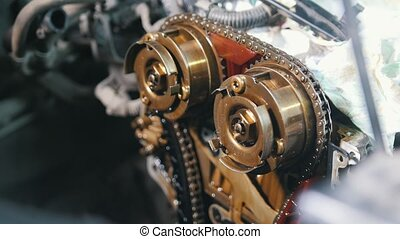 The internal combustion engine, disassembled, repair at car service.