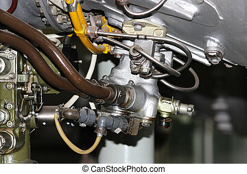 the internal structure of the aircraft engine, army aviation, military aircraft and aerospace industry