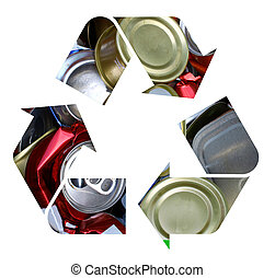 The international recycle symbol made with crushed aluminum cans isolated on white
