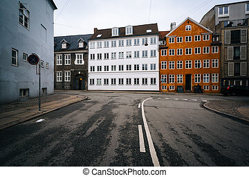 The intersection of ?benr? and Hauser Plads in Copenhagen, Denmark