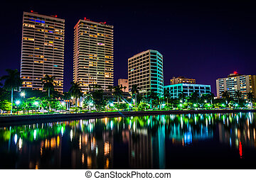 The Intracoastal Waterway and the skyline at night in West Palm