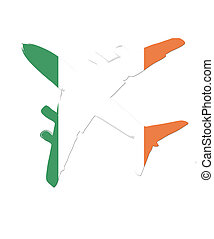 The ireland flag painted on the silhouette of a aircraft. glossy illustration