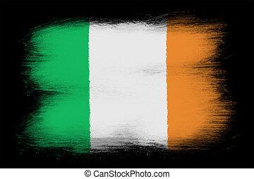 The irish flag - Painted grunge flag, brush strokes....