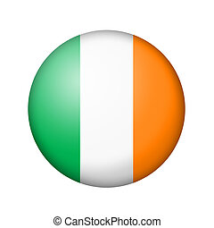 The irish flag. Round matte icon. Isolated on white background.