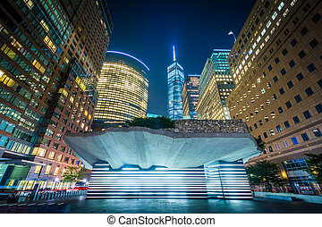 The Irish Hunger Memorial and buildings in Battery Park City...