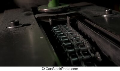 Iron Conveyor Chain Moves In The Old Iron Machine - The Iron...