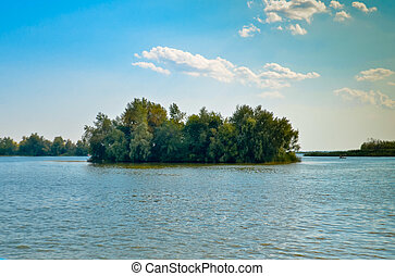 The island in the middle of the river, blue sky summer
