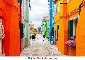 The island of Burano. Italy. - Burano. The island in the ...