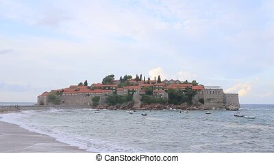 The Island of Sveti Stefan. Storm on the beach. Montenegro, the