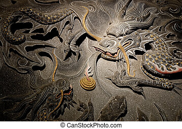 The isolated chinese temple stone carving - dragon.
