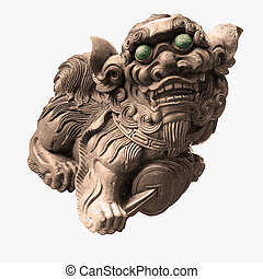 The isolated chinese temple stone carving - lion.