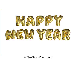 The isolated golden air balloon word HAPPY NEW YEAR