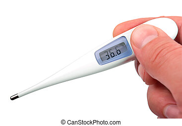 The isolated thermometer in hand