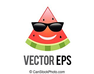 vector fruit watermelon red smiley face icon with black sunglasses