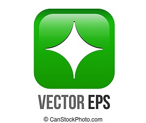 vector gradient bright green rounded square decorative bullet sparkle star point icon