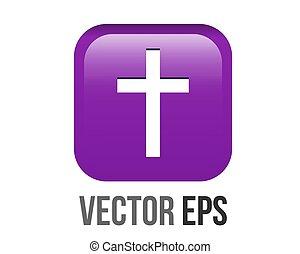 vector gradient purple Latin, Christian cross icon round corner button