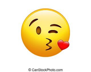 vector gradient yellow smiley kissing face with heart icon