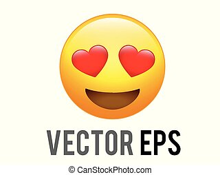 vector yellow happy face with red heart eyes flat icon