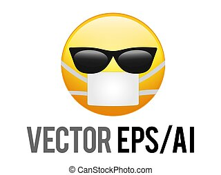 The isolated vector yellow smiley face icon with black sunglasses and coronavirus mask