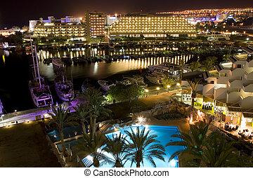 The Israeli night summer in Eilat - Israel Eilat Hotel Night...