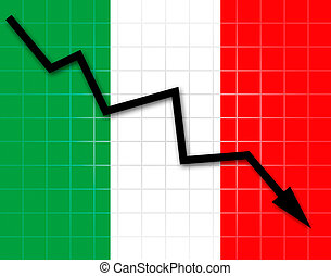 The Italian flag and arrow graph going down