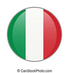 The Italian national flag round glossy icon. Italy badge Isolated on white background.