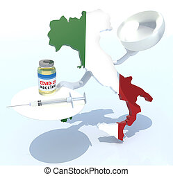 the Italy map with covid vaccine and syringe on a dish