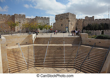 The Jaffa Gate in Jerusalem - The famous Jaffa Gate in...