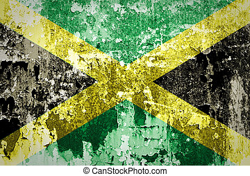 The Jamaica flag painted on concrete wall
