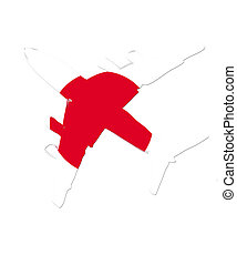 The Japanese flag painted on the silhouette of a aircraft. glossy illustration
