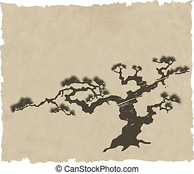 the Japanese landscape silhouette vector eps illustration
