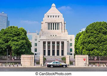 TOKYO, JAPAN - JULY 31 2015: A police crusier below The National Diet Building of Japan.