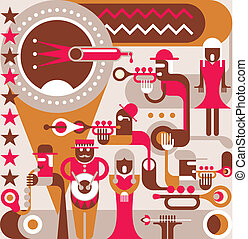 The Jazz Band - Jazz Orchestra - vector illustration. A ...