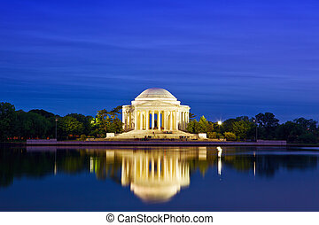 Jefferson Memorial - The Jefferson Memorial at dusk,...